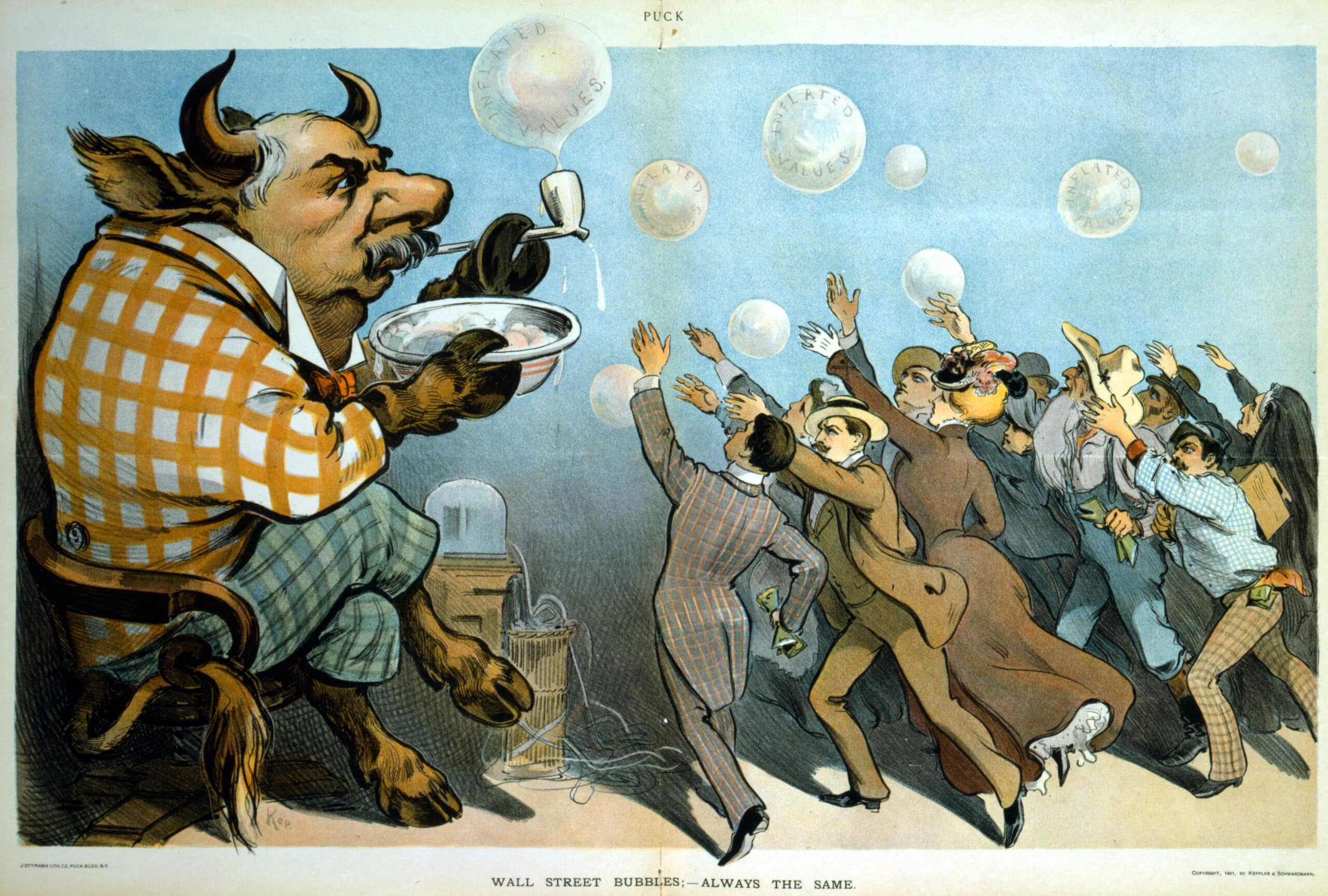 Wall Street Bubbles Cartoon, 1901